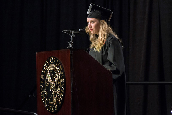 UofL School of Nursing graduate Karina Strange was given the honor of being the student speaker during the winter commencement ceremony on Thursday night. 12/15/16