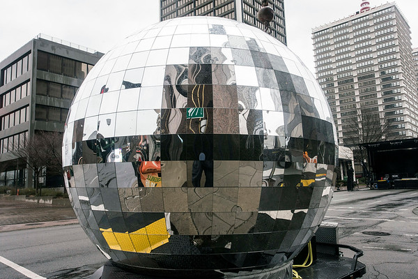 The worlds largest disco ball sat at the corner of 5th & Main Streets ready to be hoisted at for the stroke of midnight during Lou Year's Eve. 12/31/16
