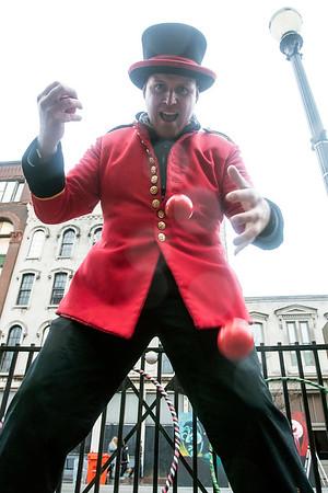 Turner's Circus juggler Dean Serneels had his skills on display during Lou Year's Eve on Saturday. 12/31/16