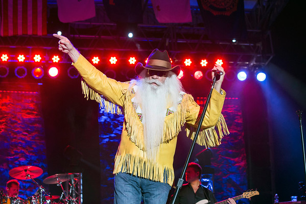 William Lee Golden of The Oak Ridge Boys livens up the crowd during a performance at the Kentucky State Fair on Sunday night. 8/21/16