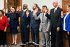Several members of the Louisville Metro Council were sworn in on Thursday night including the newly-elected Barbara Sexton Smith (2nd from left) and Brandon Coan (4th from left) as the 2017 session officially began. 1/5/17