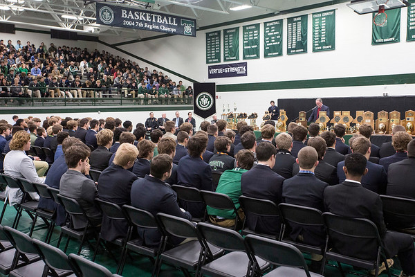 Steinhauser Gym on the Trinity campus was packed with football players and students on Tuesday as the school celebrated its 24 state title in football. 1/10/17