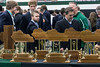 Students and alumni get a close look at the 24 state title trophies Trinity has won in football during a celebration of its 2016 champions on Tuesday morning. 1/10/17