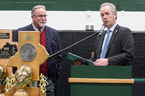 Louisville mayor, and Trinity graduate, Greg Fischer spoke at a championship celebration to honor the school's historic 24th football title on Tuesday morning. 1/10/17