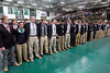 Members of the Trinity football team lock arms and sway together as a singing of the school song concluded a 24th state title celebration on Tuesday morning. 1/10/17
