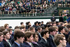 Members of the Trinity football team gathered with fellow students for a celebration Tuesday morning to honor the school's 24th state title. 1/10/17