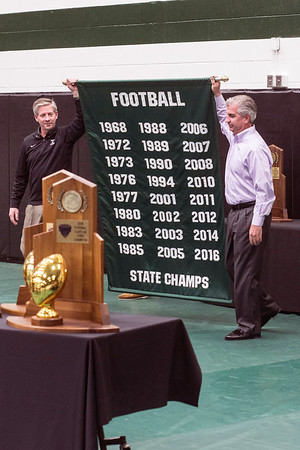 An updated banner was unveiled Tuesday morning that now includes all 24 state title years in the history of Trinity football. 1/10/17