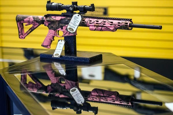 A feminine version of the Ambush Firearms 5.56 caliber rifle is on display at Lotus Gunworks. 1/11/17