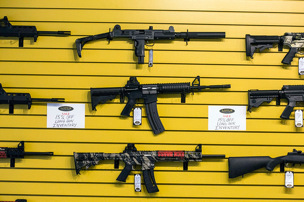 The wall at Lotus Gunworks in Jeffersontown boasts many options when it comes to rifles. 1/13/17