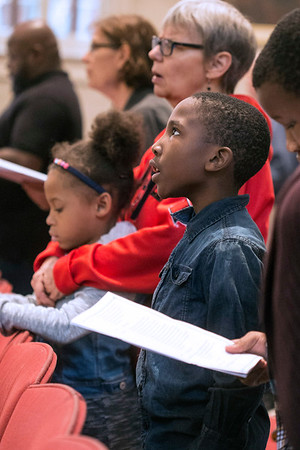 Timothy Autry lifts his voice in song during a Martin Luther King, Jr celebration at the Cathedral on Saturday. 1/14/17