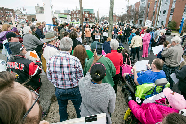A large crowd lined the sidewalk in front of the 2nd Street Kroger on Saturday morning to voice concerns about the grocery chain's planned departure from the site. 1/21/17