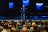 Southeast Christian pastor Dave Stone is broadcast live on a large screen at the newly opened LaGrange campus on Sunday. 1/22/17