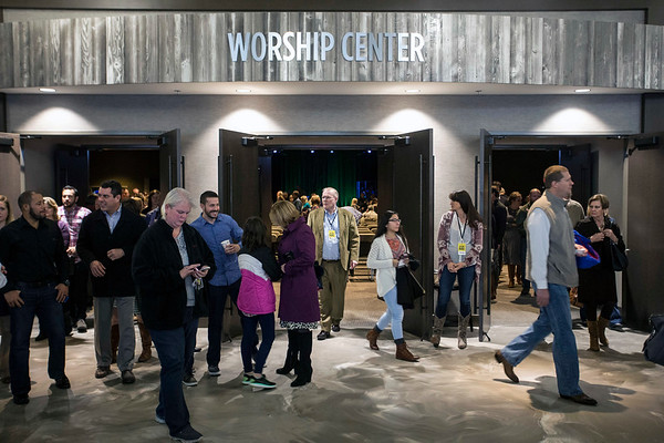 The lobby outside the worship center becomes active after the 930AM service at Southeast Christian-LaGrange. 1/22/17