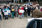 A few dozen gathered outside of the Louisville office of Senator Rand Paul on Tuesday morning to voice opposition to several of Trump's cabinet nominees. 1/24/17