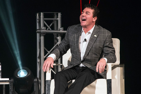 Papa John's founder John Schnatter laughs aloud during an interview with Alli Truttmann on Wednesday night at the Palace Theatre. 1/25/17