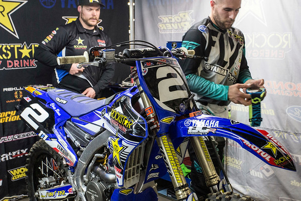 Rider Chris Blose and his mechanic Scott Donkersgoed prepare a 2017 Yamaha 250F for an upcoming heat during the 2017 AMSOIL Arenacross Tour on Saturday. 2/4/17