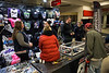 Merchandise booths stayed busy during a stop by the 2017 AMSOIL Arenacross Tour at Freedom Hall on Saturday night. 2/4/17