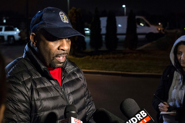 LMPD spokesman Dwight Mitchell briefs the media with few details of a murder-suicide in the Germantown Mills Lofts on Monday night. 2/6/17