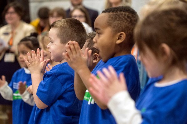 """A group of children from the Southside Christian Childcare perform """"When You're Happy and You Know It (Clap Your Hands)"""" to close a rally in Frankfort on Child Advocacy Day. 2/9/17"""