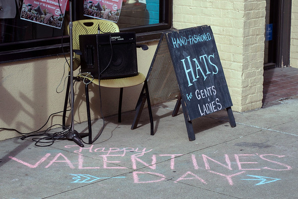 The sidewalk in front of the Mysterious Rack on South Fourth Street was filled with romantic sentiments for the Fight for Love Valentine's Pillow Fight on Tuesday. 2/14/17