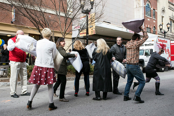 The 2nd Annual Fight for Love Valentine's Pillow Fight broke out near the corner of Chestnut & South Fourth Streets at the stroke of noon on Tuesday. 2/14/17