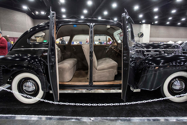 """The suicide doors of Wayne Jacobs' 1940 Ford Plymouth SDN Mayflower show off the """"all original"""" details of the classic pre-WWII ride. 2/25/17"""