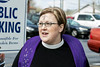 Danyelle Ditmer of the Wall Street United Methodist Church provided Ashes to Go in Jeffersonville on Wednesday as an official start to the Lent season. 3/1/17