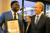 Michigan football player Jabrill Peppers speaks during a VIP reception at the Galt House on Tuesday after being welcomed by Mayor Greg Fischer to the annual Paul Hornung awards. 3/7/17