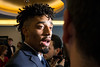 UK quarterback Stephen Johnson answered questions from Courier-Journal writer Steve Jones before the annual Paul Hornung awards on Tuesday night. 3/7/17