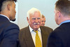 Coach Howard Schnellenberger talks to UK coach Darin Hinshaw and UK QB Stephen Johnson at the annual Paul Hornung awards on Tuesday. 3/7/17