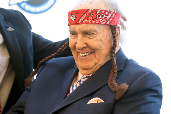 Paul Hornung posed with a Willie Nelson headband complete with braids during his annual awards banquet on Tuesday. 3/7/17