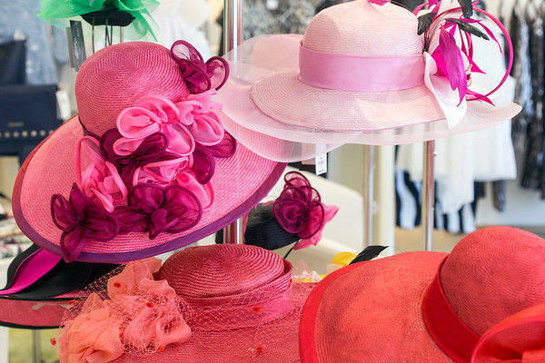 A rack of NYC-based milliner Christine Moore's creations awaits customers at Rhodes for Her. 3/9/17