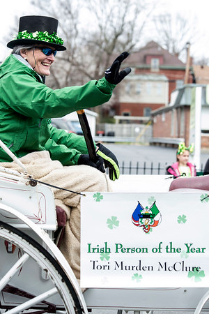 Irish Person of the Year and Spalding University President Tori Murden McClure served as Grand Marshal of the St. Patrick's Parade on Saturday. 3/11/17