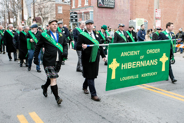 Members of the Ancient Order of Hibernians marched proudly in the 44th St. Patrick's Parade in the Highlands on Saturday. 3/11/17