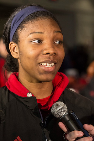 UofL basketball player Myisha Hines-Allen answers questions about the upcoming NCAA tournament. 3/13/17