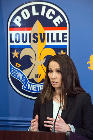 Emily McKinley of the LMPD provides details on a late night shooting at the Tim Faulkner Gallery that left one person dead and five others injured. 3/19/17