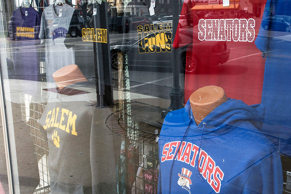 Local high school sports merchandise is featured in a window display at Lincks in Salem, Indiana. 3/23/17