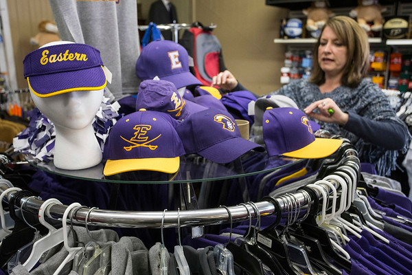 Rita Lincks, owner of Lincks Clothing, Shoes, & Sports, carries branded merchandise from the three high schools in the Salem, Indiana area. 3/23/17