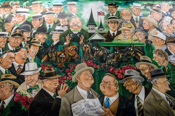 Murals depicting the history of Churchill Downs have been rehung in the hallways of the second floor clubhouse space at Churchill Downs. 4/4/17