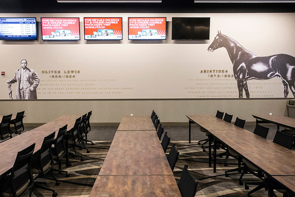 The Aristides Lounge in the second floor clubhouse at Churchill Downs pays homage to the Kentucky Derby's first winning horse and jockey. 4/4/17