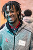UofL wide receiver Emonee Spence smiles as he interacts with staff at Norton Children's Hospital on Thursday. 4/6/17