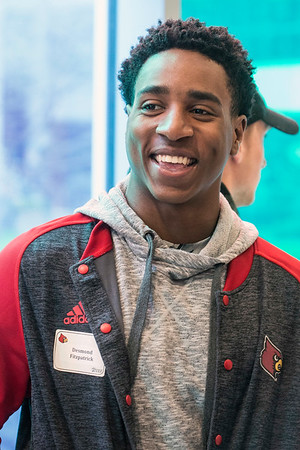 UofL wide receiver Desmond Fitzpatrick was happy to be on the scene at Norton Children's Hospital for a day of community service by the football team. 4/6/17