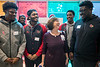 Cis Gruebbel, vice president of pediatric operations, laughs it up with members of the UofL football team during a Thursday visit to Norton Children's Hospital. 4/6/17