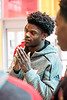 UofL quarterback Lamar Jackson talks to staff at Norton Children's Hospital on Thursday during a community service visit by the football team. 4/6/17