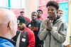 UofL quarterback Lamar Jackson chats with Norton volunteer Gary Byrne during a community service day for the football team at the Children's Hospital on Thursday. 4/6/17