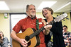 Veteran Sam Brown performs an original tune with the help of Stephanie Barnett at the closing of a Warrior's Heart  meeting. 3/9/17