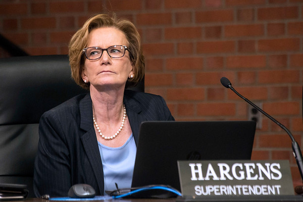 JCPS Superintendent Donna Hargens looked out into the audience at the Van Hoose Center on Thursday as the Board of education announced a parting of ways on Thursday. 4/13/17
