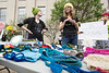 Adrianne Blair and Molly Hastings-Parke set up shop during the Louisville March for Science offering crochet hats to benefit treeslouisville.org on Sunday. 4/23/17