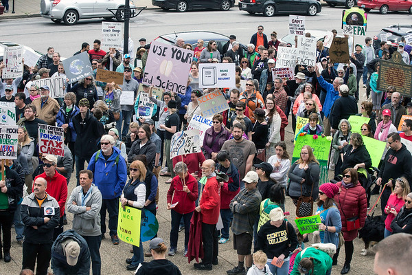 A crowd in the hundreds gathered at the foot of Metro Hall on Jefferson Street on Sunday for the Louisville March for Science. 4/23/17