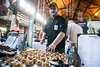 Chef Sam Varju of Bourbon Bistro describes how the bourbon bread pudding is made to attendees at the KDF Taste of Derby Festival. 4/25/17